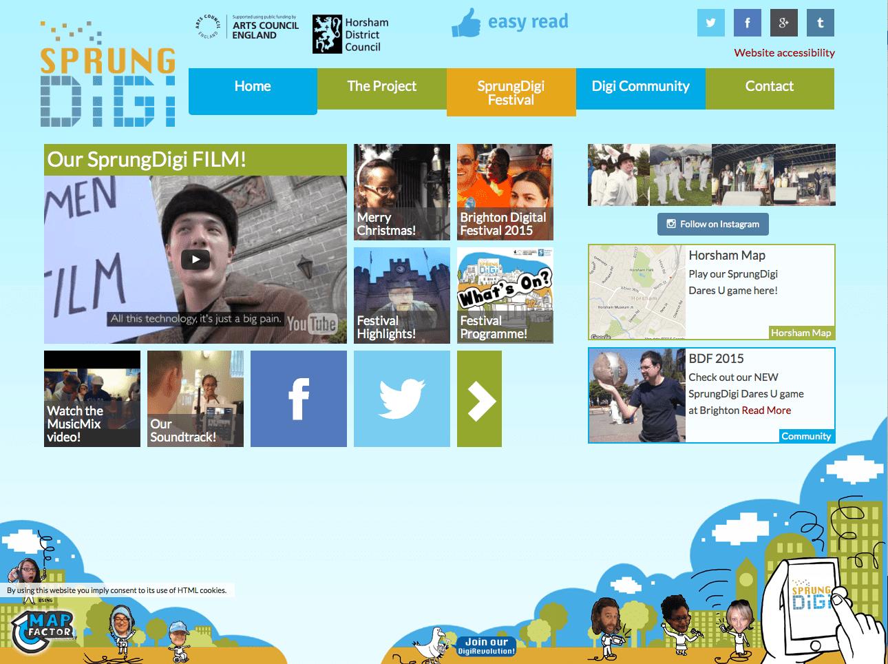 Sprung Digi home screen on a desktop