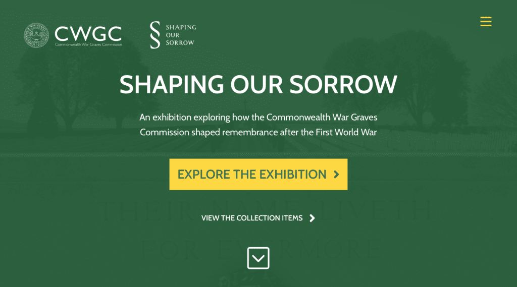 Website home page - green background, white text. Title: Shaping Our Sorrow