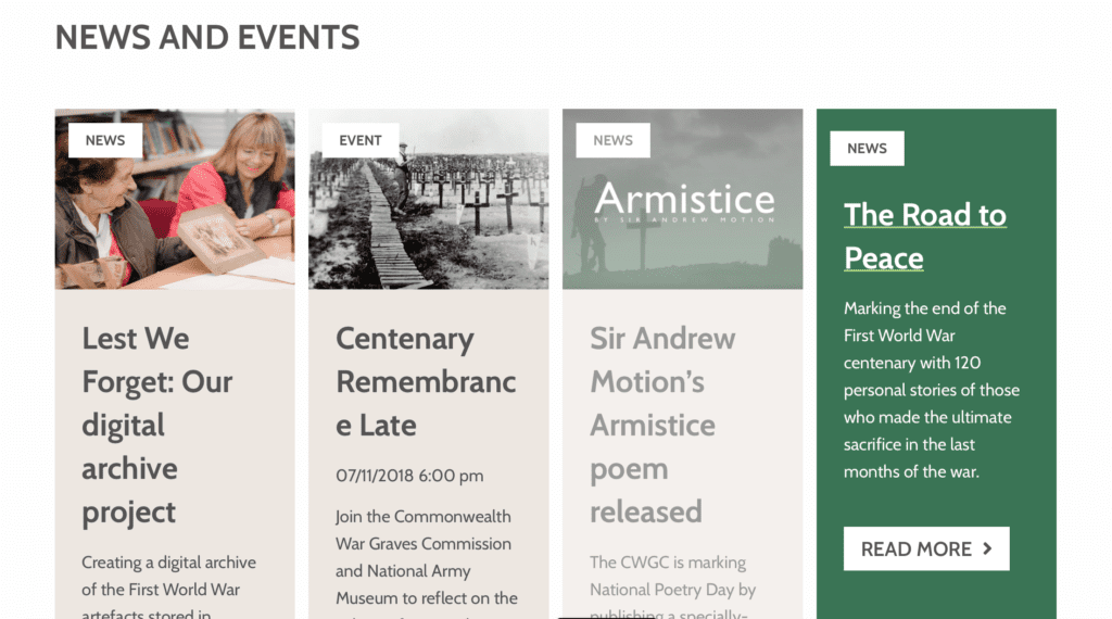 News and events listing from the website