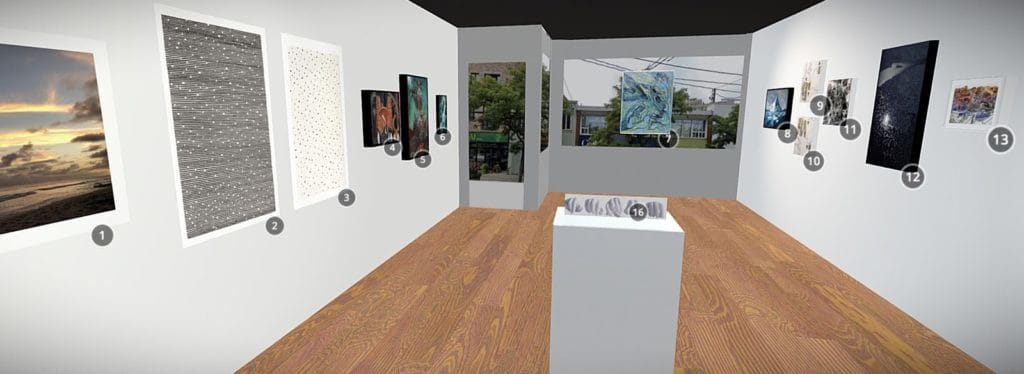 An interior view of a virtual, 3D, copy of the Arts Etobicoke gallery