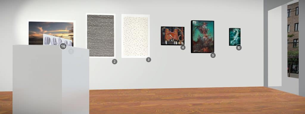 Virtual Arts Etobicoke gallery screencap of white wall with several paintings hung
