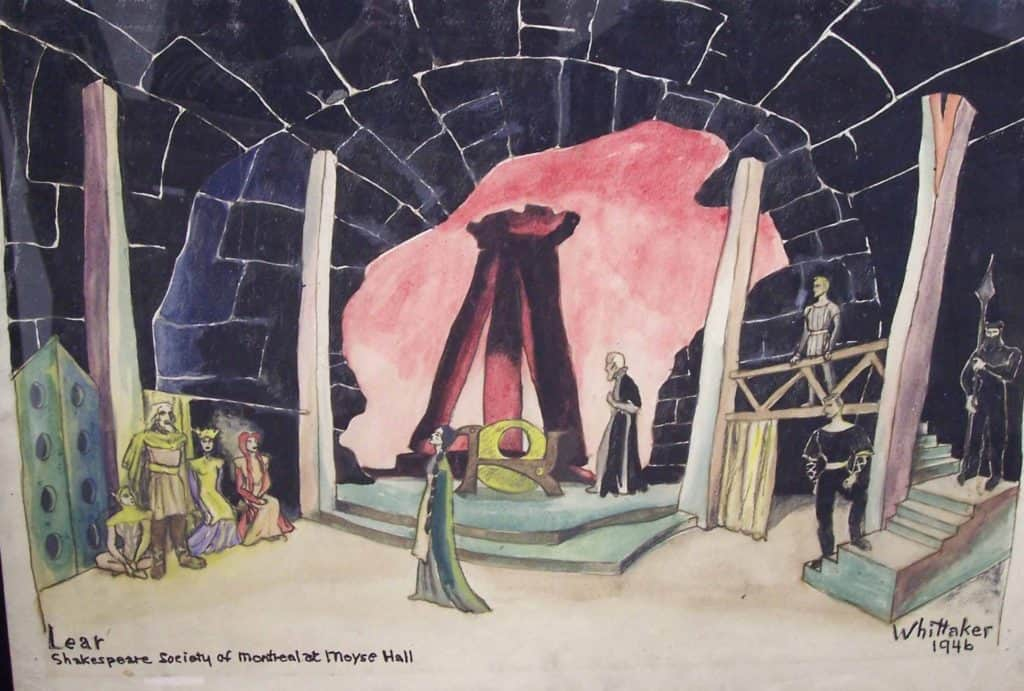 colour drawing of a theatre stage set with actors depicted