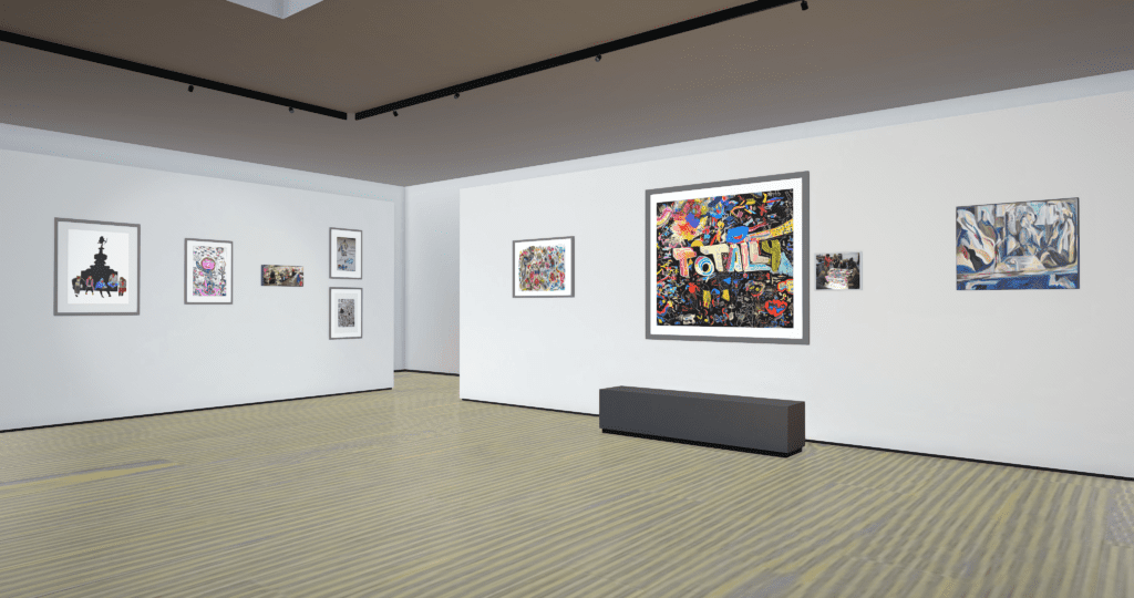 A corner view of a 3D virtual gallery showing artwork hung on white walls above a wooden floor